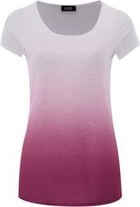 G21 Dip Dye Top Multi - sleeve style: capped; style: t-shirt; pattern: tie dye; predominant colour: magenta; occasions: casual; length: standard; neckline: scoop; fibres: polyester/polyamide - stretch; fit: body skimming; sleeve length: short sleeve; texture group: jersey - clingy; pattern type: fabric; pattern size: standard
