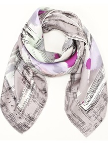 Sketch Print Scarf - predominant colour: lilac; occasions: casual, evening, work; type of pattern: standard; style: square; size: standard; material: silk; pattern: patterned/print