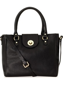 Burlington Bag - predominant colour: black; occasions: casual, work; style: tote; length: handle; size: standard; material: leather; pattern: plain; finish: plain