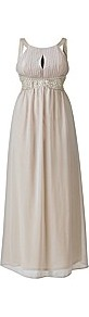 Ax Paris Embellished Key Hole Champagne Maxi Dre - neckline: round neck; fit: empire; sleeve style: sleeveless; style: maxi dress; waist detail: fitted waist; bust detail: ruching/gathering/draping/layers/pintuck pleats at bust; predominant colour: champagne; occasions: evening, occasion; length: floor length; fibres: polyester/polyamide - 100%; sleeve length: sleeveless; texture group: sheer fabrics/chiffon/organza etc.; hip detail: ruffles/tiers/tie detail at hip; pattern type: fabric; pattern size: small & light; pattern: patterned/print; embellishment: pearls