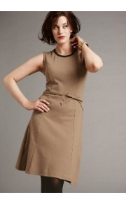 Bespoke Jackie Dress - pattern: plain; sleeve style: sleeveless; waist detail: embellishment at waist/feature waistband; predominant colour: camel; occasions: casual, evening, work; length: just above the knee; fit: soft a-line; style: fit &amp; flare; fibres: cotton - mix; neckline: crew; sleeve length: sleeveless; pattern type: fabric; pattern size: standard; texture group: woven light midweight