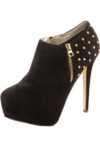 Zara Studded Back Shoe Boot - predominant colour: black; occasions: evening; material: fabric; embellishment: studs; heel: platform; toe: round toe; boot length: shoe boot; style: standard; finish: plain; pattern: plain; heel height: very high