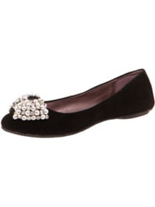 Beth Beaded Bow Suedette Ballet - predominant colour: black; occasions: casual, evening, work; material: fabric; heel height: flat; embellishment: beading; toe: round toe; style: ballerinas / pumps; finish: plain; pattern: plain