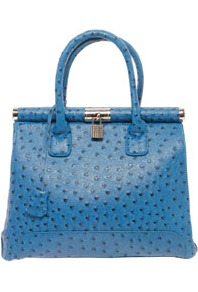 Darcy Block Colour Ostrich Effect Grab Bag - predominant colour: royal blue; occasions: casual, work; type of pattern: light; style: tote; length: handle; size: standard; material: faux leather; finish: plain; pattern: patterned/print