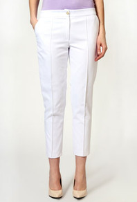 Laura Textured Fabric Trousers With Pocket Detail - pattern: plain; style: peg leg; pocket detail: pockets at the sides; waist: mid/regular rise; predominant colour: white; occasions: casual, evening, occasion, holiday; length: ankle length; fibres: polyester/polyamide - 100%; hip detail: fitted at hip (bottoms); waist detail: narrow waistband; fit: slim leg; pattern type: fabric; texture group: woven light midweight