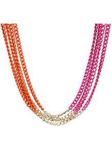 Jess Coloured Multi Chain Necklace - predominant colour: hot pink; occasions: casual, evening; style: multistrand; length: mid; size: large/oversized; material: chain/metal; finish: fluorescent; embellishment: chain/metal