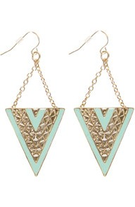 Lydia Triangle Drop Earrings - predominant colour: turquoise; occasions: casual, evening, occasion, holiday; style: drop; length: long; size: large/oversized; material: chain/metal; fastening: pierced; finish: metallic