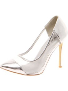 Loren Metallic Toe Cap & Perspex Pointed Mid Heels - predominant colour: silver; occasions: casual, evening, occasion; material: fabric; heel: stiletto; toe: pointed toe; style: courts; trends: sporty redux, metallics; finish: patent; pattern: plain; embellishment: toe cap; heel height: very high