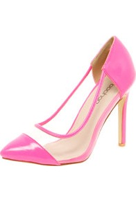 Loren Neon Toe Cap & Perspex Mid Heels - predominant colour: hot pink; occasions: casual, evening, occasion; material: faux leather; heel: stiletto; toe: pointed toe; style: courts; trends: sporty redux, fluorescent; finish: patent; pattern: plain; embellishment: toe cap; heel height: very high