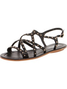 Bella All Over Stud Strappy Sandal - predominant colour: black; occasions: casual, holiday; material: faux leather; heel height: flat; embellishment: studs; ankle detail: ankle strap; heel: standard; toe: open toe/peeptoe; style: gladiators; finish: plain; pattern: plain