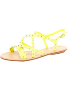 Bella All Over Stud Strappy Sandal - predominant colour: primrose yellow; occasions: casual, holiday; material: faux leather; heel height: flat; embellishment: studs; ankle detail: ankle strap; heel: standard; toe: open toe/peeptoe; style: strappy; trends: fluorescent; finish: plain; pattern: plain