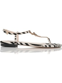 Island T Bar Leather Sandal Print Zebra - predominant colour: ivory; occasions: casual, evening, holiday; material: leather; heel height: flat; ankle detail: ankle strap; heel: standard; toe: toe thongs; style: flip flops / toe post; finish: plain; pattern: animal print