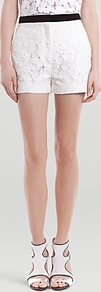 Shorts Pétale Eyelet - style: shorts; waist detail: embellishment at waist/feature waistband; waist: high rise; length: short shorts; predominant colour: white; occasions: casual, evening, holiday; fibres: polyester/polyamide - mix; hip detail: fitted at hip (bottoms); texture group: lace; fit: slim leg; pattern type: fabric; pattern size: standard; pattern: florals