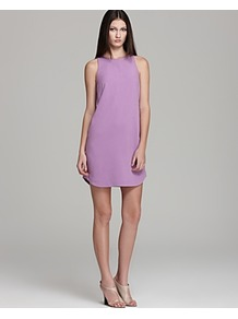 Shift Dress Ponte Sleeveless - style: shift; length: mid thigh; neckline: round neck; pattern: plain; sleeve style: sleeveless; predominant colour: lilac; occasions: casual, evening; fit: soft a-line; fibres: polyester/polyamide - mix; sleeve length: sleeveless; texture group: silky - light; pattern type: fabric; pattern size: standard