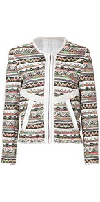 Cotton Blend Woven Jacket In Kaki - collar: round collar/collarless; style: boxy; occasions: casual, work, occasion, holiday; length: standard; fit: straight cut (boxy); fibres: acrylic - mix; predominant colour: multicoloured; sleeve length: long sleeve; sleeve style: standard; trends: statement prints; collar break: high; pattern type: fabric; pattern size: small & busy; pattern: patterned/print; texture group: woven light midweight