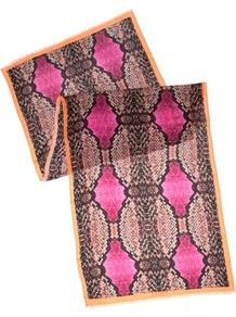 Ted Baker Cobraa Reptile Print Scarf - predominant colour: hot pink; occasions: casual, evening, work; type of pattern: large; style: regular; size: large; material: fabric; pattern: animal print