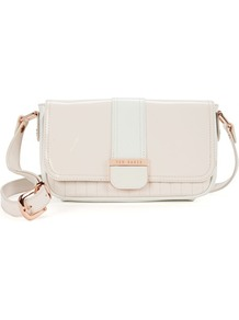 Ted Baker Staag Quilted Two Tone Bag - predominant colour: ivory; occasions: casual, evening; style: shoulder; length: across body/long; size: small; material: leather; embellishment: quilted; pattern: plain; finish: patent