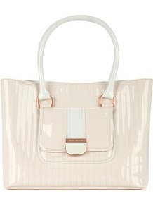 Ted Baker Aldur Quilted Shopper Bag - predominant colour: ivory; occasions: casual, work; style: tote; length: handle; size: standard; material: leather; embellishment: quilted; pattern: plain; finish: patent