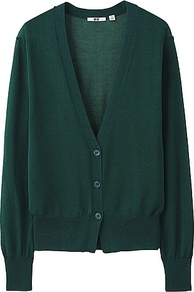 Women Light V Neck Cardigan 55 Green - neckline: low v-neck; pattern: plain; predominant colour: dark green; occasions: casual, work; length: standard; style: standard; fibres: viscose/rayon - 100%; fit: standard fit; sleeve length: long sleeve; sleeve style: standard; texture group: knits/crochet; pattern type: knitted - other; pattern size: standard
