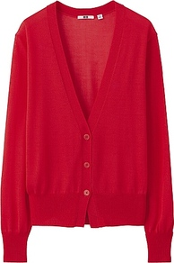 Women Light V Neck Cardigan 14 Red - neckline: low v-neck; sleeve style: dolman/batwing; pattern: plain; length: below the bottom; predominant colour: true red; occasions: casual, work; style: standard; fibres: viscose/rayon - 100%; fit: standard fit; sleeve length: long sleeve; texture group: knits/crochet; pattern type: knitted - other; pattern size: standard
