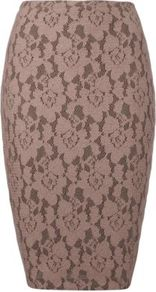 Lace Pencil Skirt Dusky Rose - length: below the knee; style: pencil; fit: tight; waist detail: elasticated waist; waist: mid/regular rise; predominant colour: taupe; occasions: evening, work, occasion; texture group: lace; pattern type: fabric; pattern size: small &amp; busy; pattern: florals; fibres: cashmere - mix