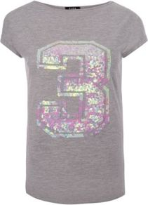 G21 Sequin 3 T Shirt Ash - neckline: slash/boat neckline; style: t-shirt; predominant colour: mid grey; occasions: casual; length: standard; fibres: cotton - mix; fit: body skimming; sleeve length: short sleeve; sleeve style: standard; pattern type: fabric; pattern size: small &amp; light; pattern: patterned/print; texture group: jersey - stretchy/drapey; embellishment: sequins