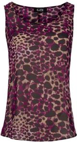G21 Animal Print Sheer Vest Plum - neckline: round neck; sleeve style: sleeveless; style: vest top; predominant colour: aubergine; occasions: casual, evening, work, holiday; length: standard; fibres: polyester/polyamide - 100%; fit: body skimming; sleeve length: sleeveless; texture group: silky - light; pattern type: fabric; pattern size: small & busy; pattern: animal print