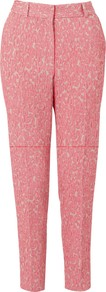 Jacquard Trousers - pocket detail: pockets at the sides; waist: mid/regular rise; predominant colour: pink; occasions: casual, evening, work, occasion; length: ankle length; fibres: polyester/polyamide - mix; hip detail: fitted at hip (bottoms); waist detail: narrow waistband; fit: slim leg; pattern type: fabric; pattern size: small &amp; light; pattern: patterned/print; texture group: brocade/jacquard; style: standard