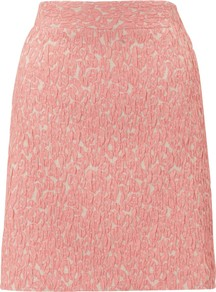 Animal Jacquard Skirt - fit: tailored/fitted; waist: mid/regular rise; predominant colour: pink; occasions: casual, evening, work; length: just above the knee; style: a-line; fibres: cotton - mix; pattern type: fabric; pattern size: standard; pattern: animal print; texture group: brocade/jacquard
