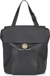 Portland Backpack - predominant colour: black; occasions: casual, work; style: rucksack; length: handle; size: standard; material: leather; pattern: plain; finish: plain