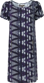 Zig Zag Print Dress - style: shift; neckline: round neck; pattern: vertical stripes; predominant colour: purple; occasions: casual, evening, work, occasion; length: just above the knee; fit: straight cut; fibres: silk - 100%; sleeve length: short sleeve; sleeve style: standard; texture group: silky - light; trends: statement prints, glamorous day shifts; pattern type: fabric; pattern size: big & busy