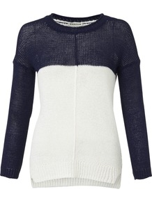Jasmine Slouchy Jumper - sleeve style: dolman/batwing; style: standard; predominant colour: navy; occasions: casual, work; length: standard; fibres: cotton - mix; fit: slim fit; neckline: crew; back detail: longer hem at back than at front; sleeve length: long sleeve; texture group: knits/crochet; pattern type: knitted - other; pattern size: standard; pattern: colourblock