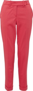Cotton Stretch Sateen Trousers - pattern: plain; waist: mid/regular rise; predominant colour: true red; occasions: casual, evening, work; length: ankle length; fibres: cotton - stretch; hip detail: fitted at hip (bottoms); jeans & bottoms detail: turn ups; texture group: structured shiny - satin/tafetta/silk etc.; fit: slim leg; pattern type: fabric; pattern size: standard; style: standard