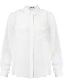 Double Layer Blouse - neckline: shirt collar/peter pan/zip with opening; pattern: plain; length: below the bottom; style: blouse; predominant colour: ivory; occasions: casual, evening, work; fibres: silk - 100%; fit: body skimming; sleeve length: long sleeve; sleeve style: standard; texture group: silky - light; pattern type: fabric; pattern size: standard