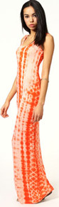 Abigail Tie Dye Scoop Neck Maxi Dress - sleeve style: sleeveless; style: maxi dress; pattern: tie dye; predominant colour: bright orange; occasions: casual, holiday; length: floor length; fit: body skimming; neckline: scoop; fibres: viscose/rayon - stretch; sleeve length: sleeveless; pattern type: fabric; pattern size: standard; texture group: jersey - stretchy/drapey