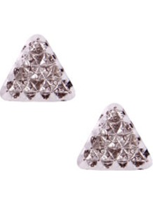 Rosa Spike Triangle Earrings - predominant colour: gold; occasions: casual, evening, work; style: stud; length: short; size: small; material: chain/metal; fastening: pierced; trends: metallics; finish: plain; embellishment: chain/metal