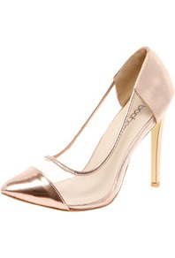 Loren Metallic Toe Cap & Perspex Pointed Mid Heels - predominant colour: gold; occasions: evening, occasion; material: faux leather; heel height: high; heel: stiletto; toe: pointed toe; style: courts; trends: metallics; finish: metallic; pattern: plain