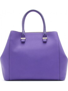 Liberty Leather Shopper - predominant colour: purple; occasions: casual, work; style: tote; length: handle; size: standard; material: leather; pattern: plain; finish: plain