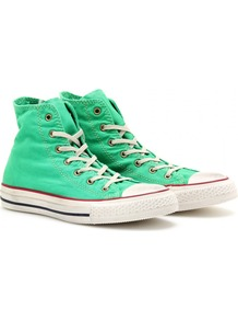 Chuck Taylor Well Worn All Star High Tops - predominant colour: emerald green; occasions: casual, holiday; material: fabric; heel height: flat; toe: round toe; style: trainers; finish: plain; pattern: plain
