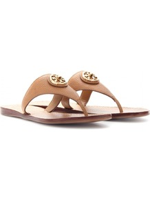 Selma Leather Thong Sandals - predominant colour: tan; occasions: casual, holiday; material: leather; heel height: flat; heel: standard; toe: toe thongs; style: flip flops / toe post; finish: plain; pattern: plain; embellishment: applique