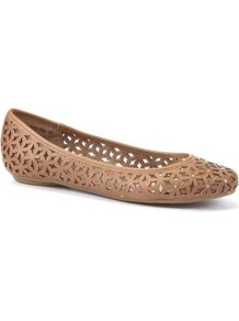 Wide Fit Tan Cut Out Stud Pumps - predominant colour: tan; occasions: casual, work, holiday; material: faux leather; heel height: flat; embellishment: studs; toe: round toe; style: ballerinas / pumps; finish: plain; pattern: florals