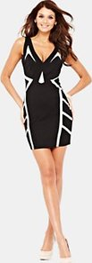 Contrast Bodycon Dress, White - length: mid thigh; neckline: plunge; fit: tight; sleeve style: sleeveless; style: bodycon; waist detail: fitted waist; back detail: low cut/open back; hip detail: fitted at hip; predominant colour: black; occasions: evening, occasion; fibres: polyester/polyamide - mix; sleeve length: sleeveless; texture group: jersey - clingy; pattern type: fabric; pattern size: small & light; pattern: patterned/print