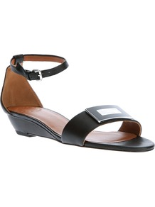 Buckle Wedge Sandal - predominant colour: black; occasions: casual, holiday; material: leather; heel height: mid; embellishment: buckles; ankle detail: ankle strap; heel: wedge; toe: open toe/peeptoe; style: standard; finish: patent; pattern: plain