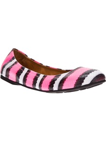 Striped Ballet Flat - predominant colour: pink; occasions: casual, work, holiday; material: leather; heel height: flat; toe: round toe; style: ballerinas / pumps; trends: striking stripes; finish: patent; pattern: striped