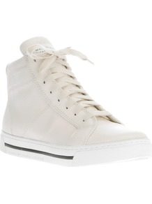 Hi Top Sneaker - predominant colour: white; occasions: casual; material: leather; heel height: flat; heel: standard; toe: round toe; boot length: ankle boot; style: high top; finish: plain; pattern: plain
