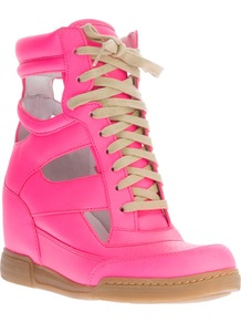 Cut Out Wedge Sneaker - predominant colour: hot pink; occasions: casual, holiday; material: leather; heel height: mid; heel: wedge; toe: round toe; boot length: ankle boot; style: high top; trends: fluorescent, metallics; finish: fluorescent; pattern: plain
