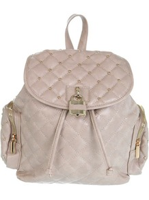 Nude Quilt Rucksack - predominant colour: stone; occasions: casual; style: rucksack; length: rucksack; size: standard; material: faux leather; embellishment: studs; pattern: plain; finish: plain