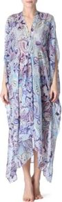 Abito Silk Chiffon Kaftan - length: calf length; neckline: low v-neck; sleeve style: dolman/batwing; fit: loose; style: kaftan; pattern: paisley; occasions: casual, holiday; fibres: silk - 100%; predominant colour: multicoloured; sleeve length: 3/4 length; texture group: sheer fabrics/chiffon/organza etc.; trends: statement prints; pattern type: fabric; pattern size: big & busy