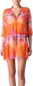 Electric Bay Shirt Dress - style: shirt; length: mini; neckline: shirt collar/peter pan/zip with opening; fit: loose; waist detail: belted waist/tie at waist/drawstring; predominant colour: bright orange; occasions: casual, holiday; fibres: silk - 100%; sleeve length: 3/4 length; sleeve style: standard; texture group: sheer fabrics/chiffon/organza etc.; pattern type: fabric; pattern size: small &amp; light; pattern: patterned/print
