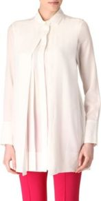 Terme Silk Shirt - neckline: shirt collar/peter pan/zip with opening; pattern: plain; length: below the bottom; style: shirt; predominant colour: white; occasions: casual, work; fibres: silk - 100%; fit: loose; sleeve length: long sleeve; sleeve style: standard; texture group: sheer fabrics/chiffon/organza etc.